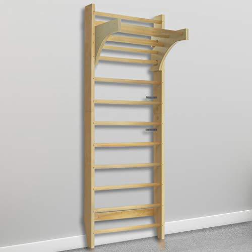 vidaXL Holz Sprossenwand mit Höhenverstellbarer Stange Kletterwand Turnwand...