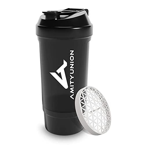 """Protein Shaker 700 ml """"FYRA"""" auslaufsicher - BPA frei mit Pulverfach & Sieb und..."""