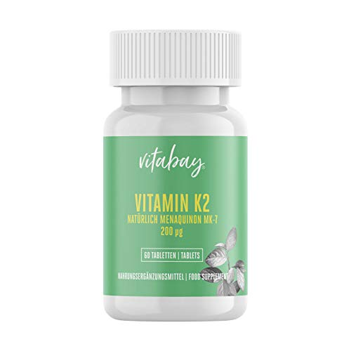 Vitamin K2 200 µg (60 vegane Tabletten) - All Trans Form (100%) - hochdosiert MK-7...