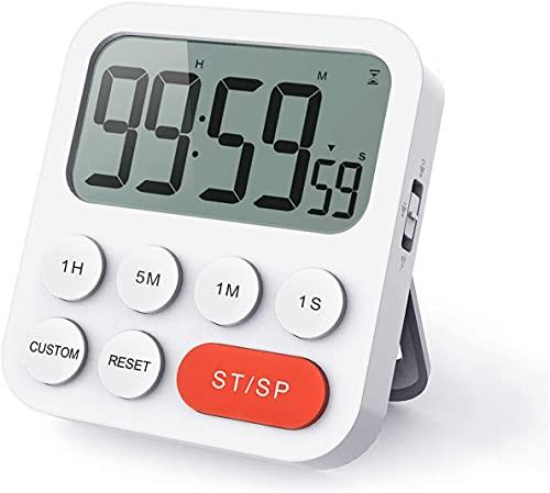 LIORQUE Digitaler Küchentimer Magnetisch Stoppuhr Timer mit Uhr, Magnet, 3-stufiger...
