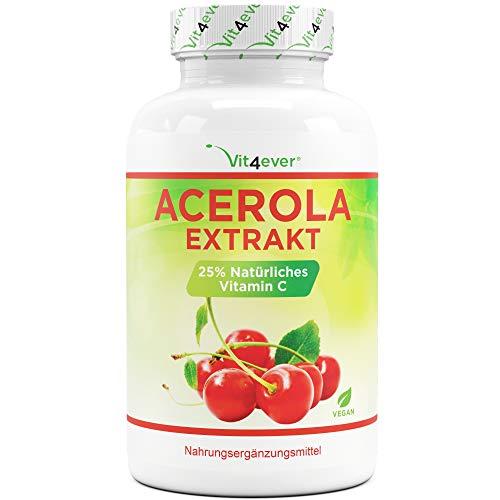 Acerola Kapseln - Natürliches Vitamin C - 240 Kapseln - Hochdosiert mit 1500 mg...