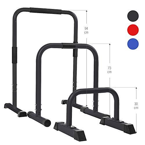 GORILLA SPORTS® Dip Barren 2er Set 30 cm/73 cm/94 cm – Push Up Stand Bar in 3...