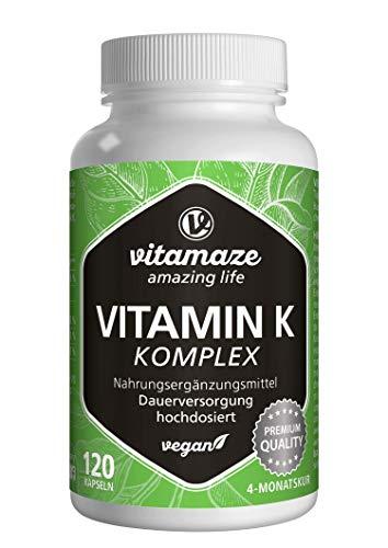 Vitamin K Komplex hochdosiert & vegan, K1 1.000 mcg + K2 Menaquinon (1.000 mcg MK4 +...