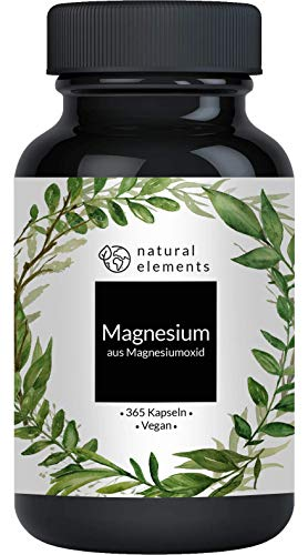 Magnesium - 365 Kapseln - 665mg, davon 400mg elementares Magnesium pro Kapsel -...