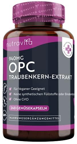 Nutravita® - 940 mg OPC Traubenkernextrakt - 240 vegane Kapseln - Höchster OPC...