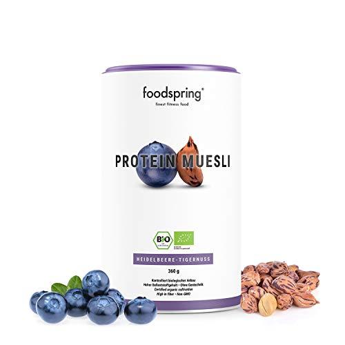 foodspring Bio Protein Müsli, Heidelbeere-Tigernuss, 360g, 3x mehr Protein als...