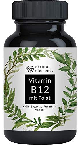 Vitamin B12-180 Tabletten - Hochwertig durch beide Aktivformen + Depot + Folat...