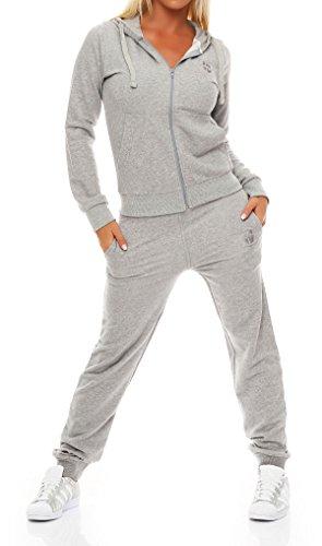 Gennadi Hoppe Damen Jogginganzug Trainingsanzug Sportanzug, hellgrau ,S