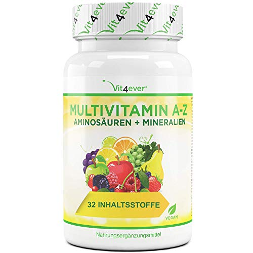 Multivitamin A-Z - 120 Tabletten (4 Monate) - 32 aktive Inhaltsstoffe - Kombination...