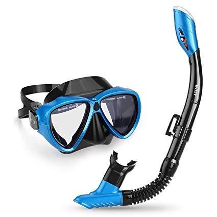 INTEY Schnorchelset Schnorchelmaske mit Anti-Fog Taucherbrille und Dry Schnorchel inkl. Ausblasventil und Anti-Fog Tachermaske aus Gehärtetem Glas für Erwachsene und Kinder