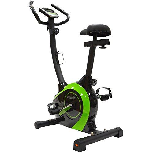 EnjoyFit Crosstrainer Heimtrainer Fahrradtrainer mit Handpuls-Sensoren schwarz/grün