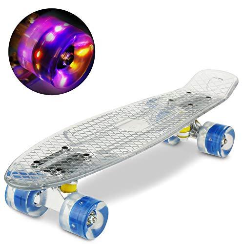 WeSkate Mini Complete Cruiser Skateboard 22' mit LED blinkt Räder und Schreibtisch