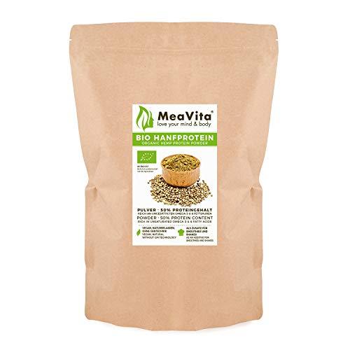 MeaVita Bio Hanfprotein Pulver, hoher Proteingehalt, pflanzliches Proteinpulver, 1er...
