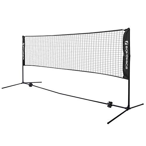 SONGMICS Tennisnetz 4 m Badmintonnetz Höhenverstellbar Federballnetz Mit Ständer...