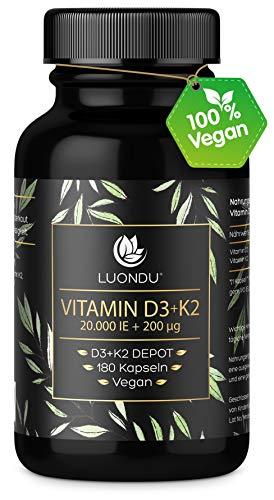 Luondu Vitamin D3 20.000 I.E + Vitamin K2 MK7 200 mcg Depot (180 Kapseln Hochdosiert...