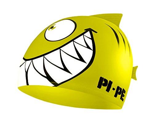 PI-PE Badekappe für Kinder - Badehaube mit Coolem Hai Motiv für Jungen und Mädchen...