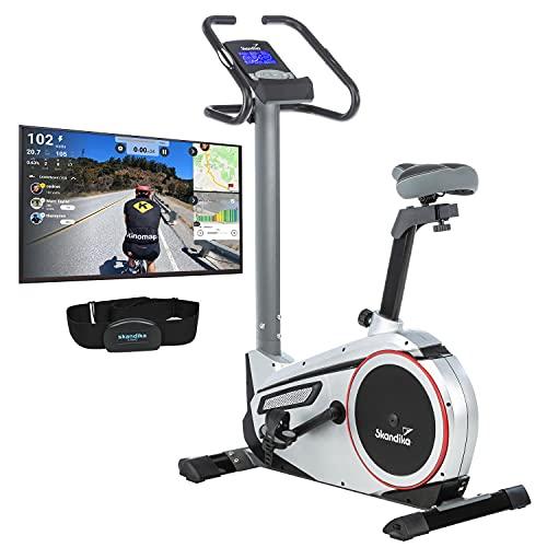 skandika Ergometer Morpheus, Fitnessbike, Heimtrainer mit Steuerung und Street View...
