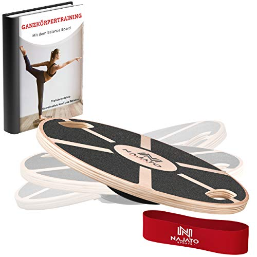 NAJATO Sports Balance Board – Wackelbrett mit rutschfestem gummiertem Standfuß –...