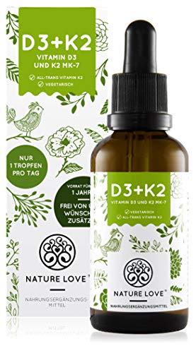 NATURE LOVE® Vitamin D3 + K2 (50ml flüssig) - Hoch bioverfügbar durch Original...