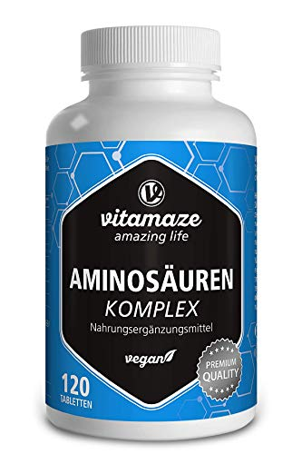 Aminosäuren Komplex hochdosiert & vegan, 120 Tabletten mit 8 essentiellen...