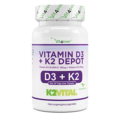 Vitamin D3 20.000 I.E + Vitamin K2 200 mcg Menaquinon MK7 Depot - 180 Tabletten -...