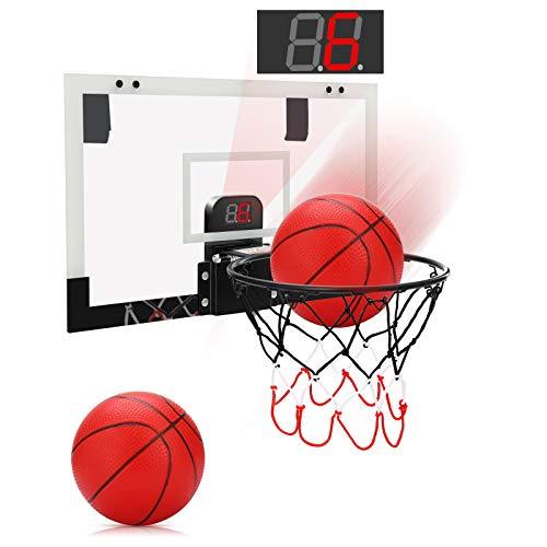 PELLOR Mini Basketballkorb fürs Zimmer Mini Basketball mit elektronischer...