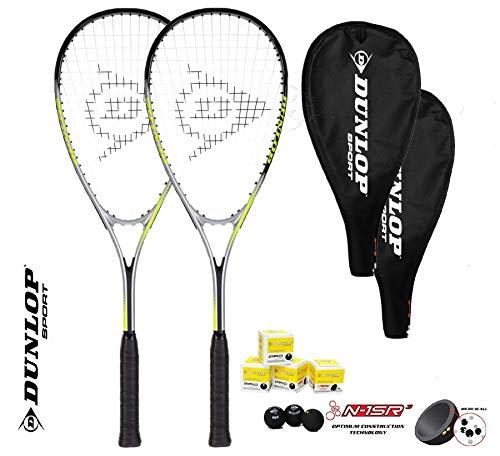 Dunlop Ti Series Squashschläger (Verschiedene Optionen) (2 x Squashschläger + 3...
