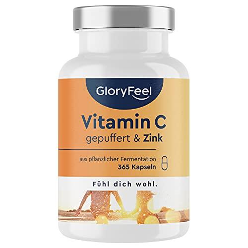 Vitamin C Hochdosiert 1000mg + 20mg Zink - Pflanzlich fermentiert & gepuffert...