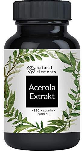 Acerola Kapseln - Natürliches Vitamin C - 180 vegane Kapseln für 6 Monate -...
