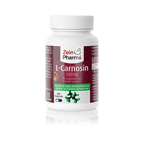 ZeinPharma L-Carnosin 500 mg 60 Kapseln (Monatspackung) Glutenfrei, vegan, koscher &...