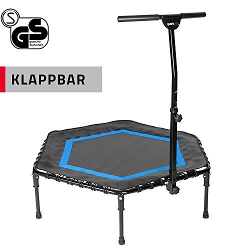 SportPlus Fitness-Trampolin, TÜV-Geprüft, Ø 126cm, leise Gummiseilfederung, 5-fach...