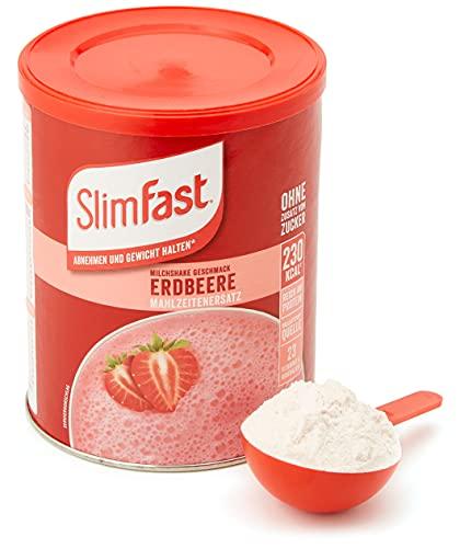 SlimFast Milchshake Pulver Erdbeere I Kalorienreduzierter Diät-Shake mit hohem...