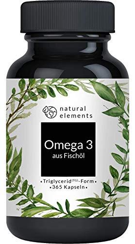Omega 3 (365 Kapseln) - 1000mg Fischöl pro Kapsel mit EPA und DHA (in...