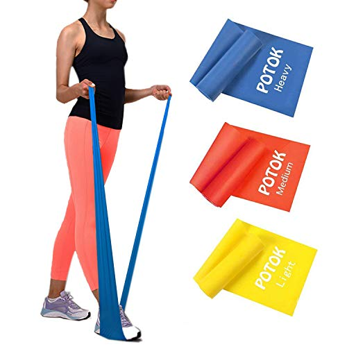 Potok Premium Gymnastikband Set – 3 Fitnessbänder – Extra Lange (1.8m)...