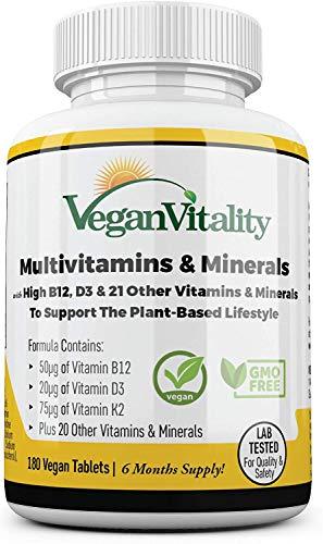 Vegane Multivitamine & Mineralien mit hochwirksamen Vitaminen B12, D3 & K2. 180...