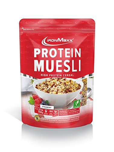 IronMaxx Protein Müsli Erdbeere - Veganes Fitness Müsli laktosefrei und glutenfrei...
