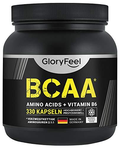 BCAA 330 Kapseln - Essentielle Aminosäuren Leucin, Valin und Isoleucin Plus Vitamin...