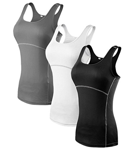 YR.Lover.sport YR.Lover Damen 3er Pack Dry Fit Kompression Running Yoga Tank Top...