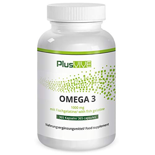 PlusVive - Omega 3 Kapseln - hochdosiert: 1000 mg Premium Fischöl pro Kapsel -...