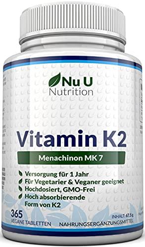 Vitamin K2 MK7 200 µg | 365 Vegetarische und Vegane Tabletten | Jahresversorgung von...