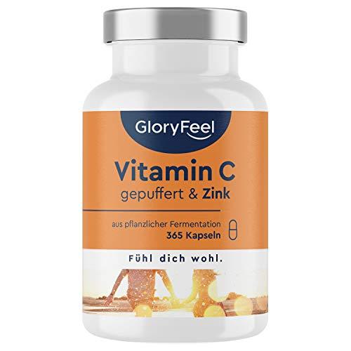 Vitamin C + Zink - 365 vegane Kapseln - 1000mg gepuffertes pflanzliches Vitamin C...