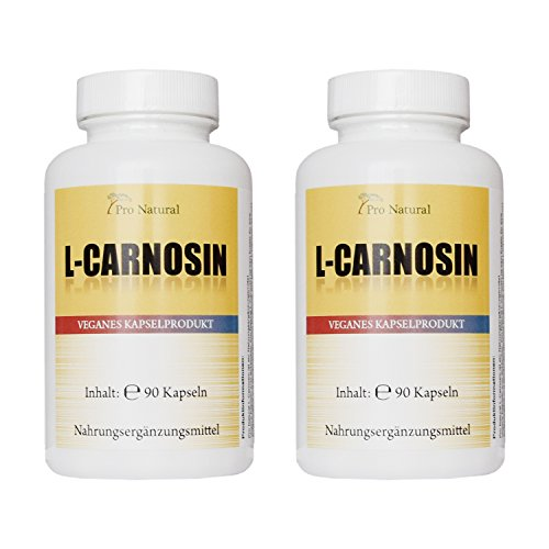 L-Carnosin 500mg reines Carnosin pro Kapsel 180 vegetarische Kapseln (2 Dosen a 90...
