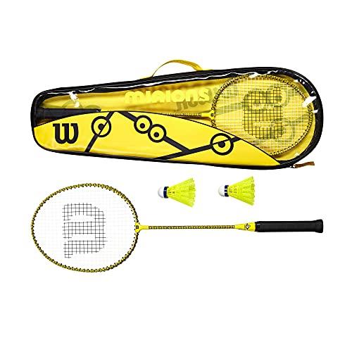 Wilson Minions Badminton-Set, 2 Schläger, 2 Federbälle, Tragetasche, Gelb/Schwarz,...