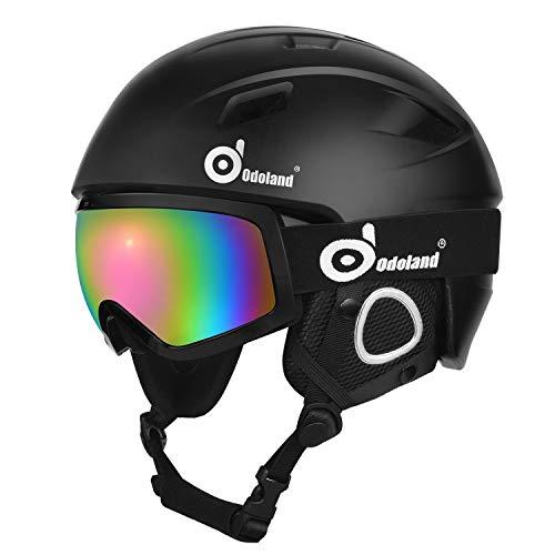 Odoland Skihelm und Skibrille Set Snowboardhelm mit Snowboardbrille für Erwachsene...