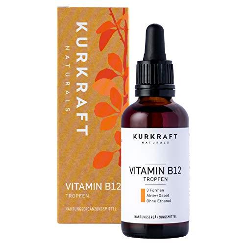 Kurkraft® Vitamin B12 Tropfen (50ml) - Vegan & alkoholfrei - alle 3 natürlichen...