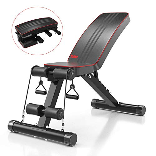 YOLEO Klappbare Hantelbank, Multifunktion Training Fitness Bank, 2 in 1 Sit-ups Bank...