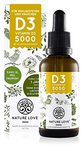 NATURE LOVE® Vitamin D3 5000 (50ml flüssig) - Laborgeprüfte 5000 I.E. pro Tropfen...