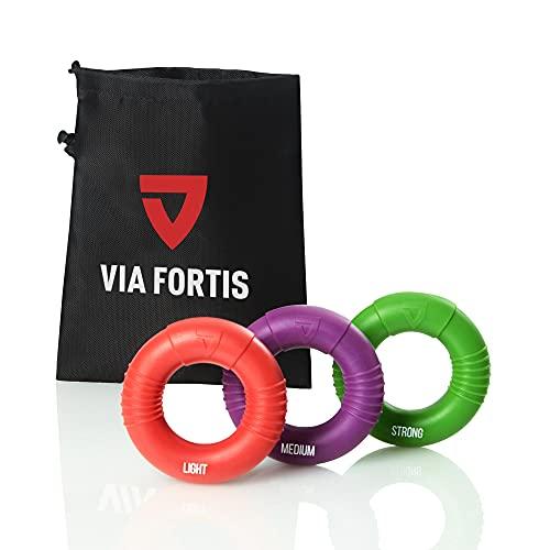 VIA FORTIS Premium Handtrainer – Fingertrainer Set aus 3 Ringen inkl. Tasche –...