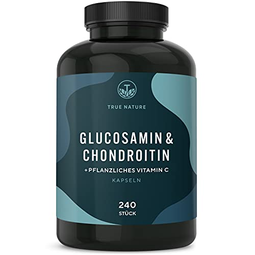 TRUE NATURE® Glucosamin & Chondroitin Hochdosiert + Vitamin C - 240 Kapseln - mit...