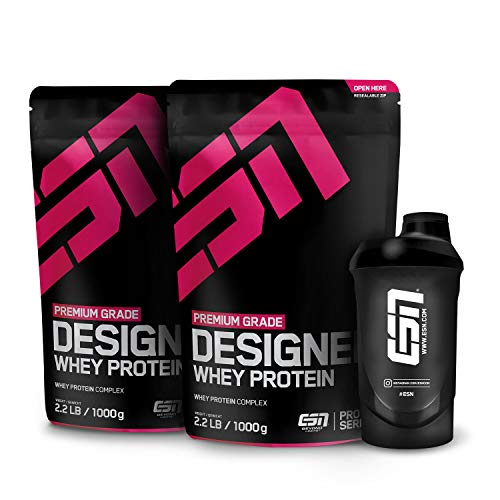 ESN Designer Whey Protein, 2x1000g + Gratis ESN Shaker, Vanilla Ice Cream